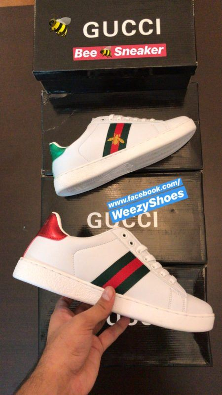 Gucci Gucci Ace Embroidered Bee (White)